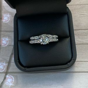 2pc Sterling Silver Engagement Ring & Band Set